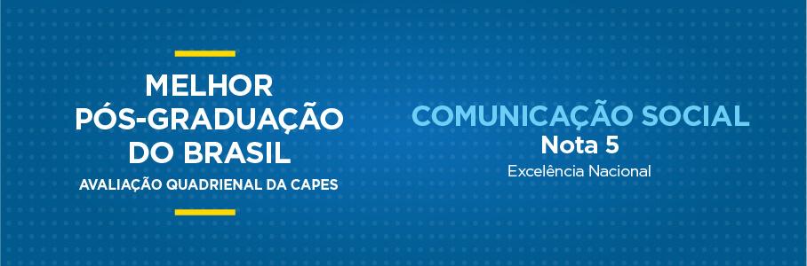 Melhor Pós-Graduação do Brasil - Comunicação Social, nota 5.