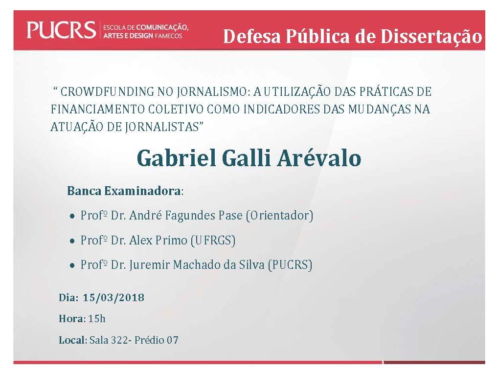 Defesa Pública de Dissertação – Gabriel Galli Arévalo