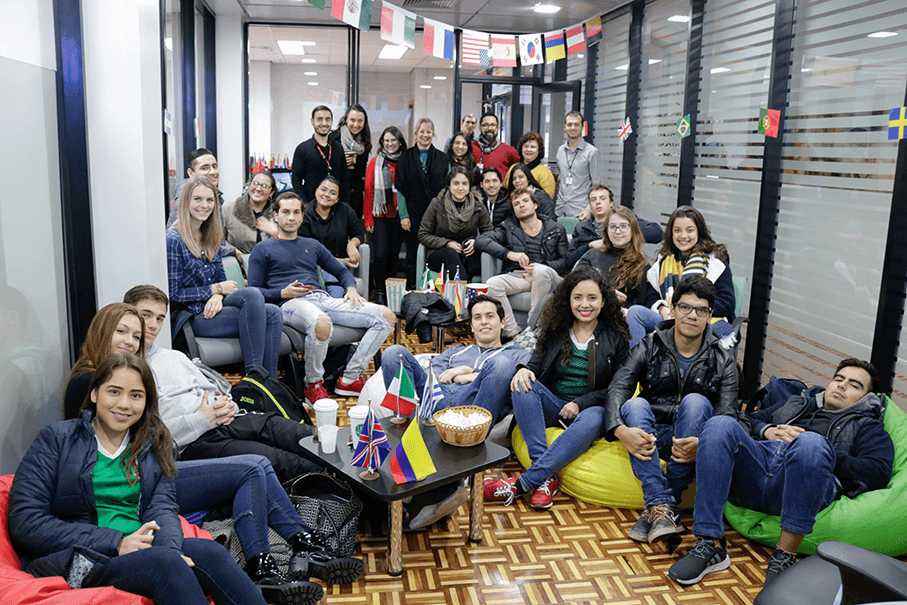 International students watching World Cup's first match Image: Thais Gonçalves