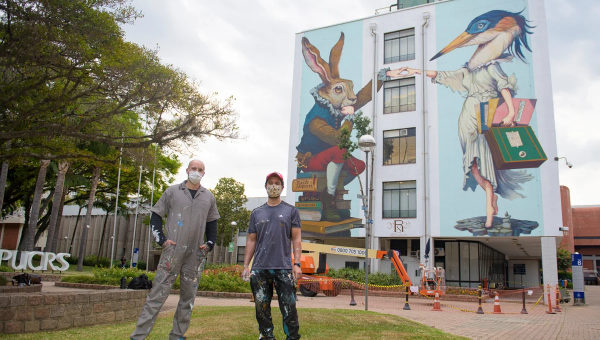 Open-air Gallery: Large murals painted around PUCRS Campus