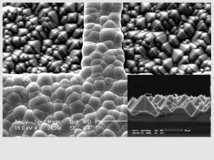 Microscopia de Varredura - Filme de prata sobre silício, Si