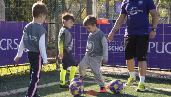 Teaching soccer to boys and girls