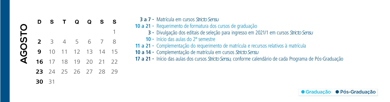 Calendário Acadêmico PUCRS - Mês de Agosto