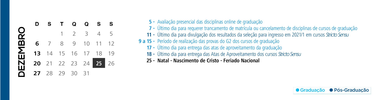 Calendário Acadêmico PUCRS - Mês de Dezembro