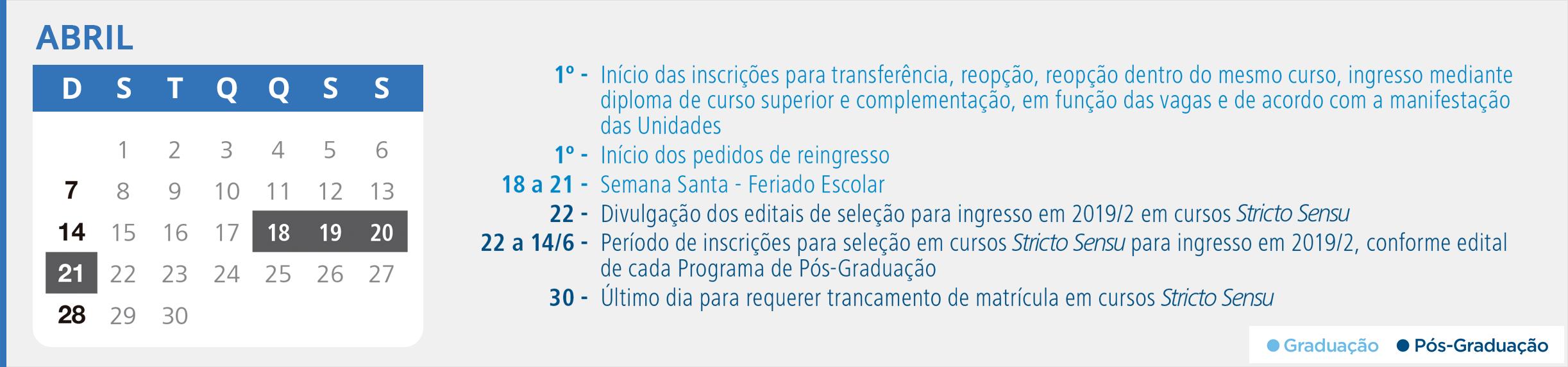 Calendário Acadêmico PUCRS - Mês de Abril