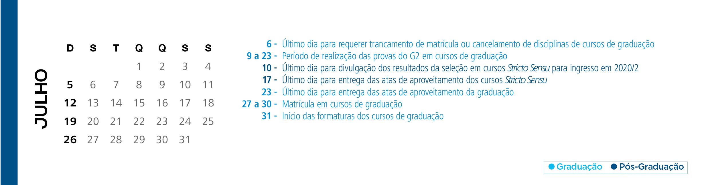 Calendário Acadêmico PUCRS - Mês de Julho