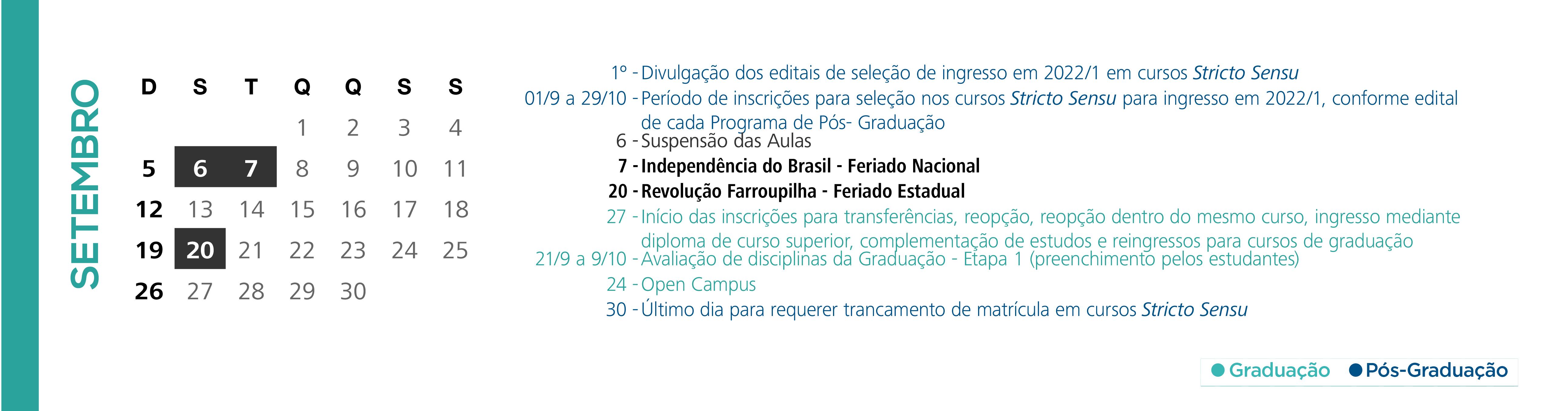 Calendário Acadêmico PUCRS - Mês de Setembro