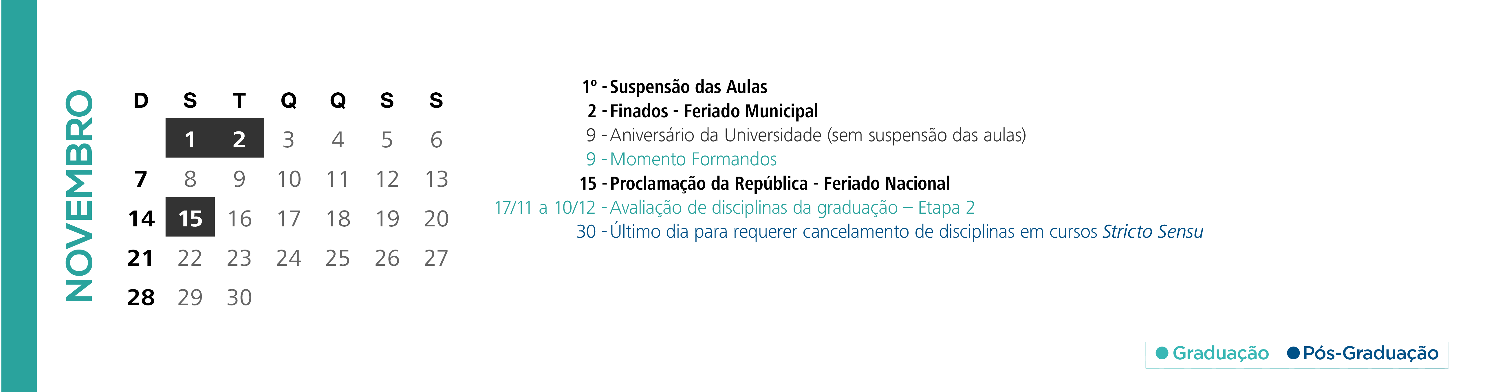 Calendário Acadêmico PUCRS - Mês de Novembro