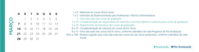 Calendário Acadêmico PUCRS - Mês de Março