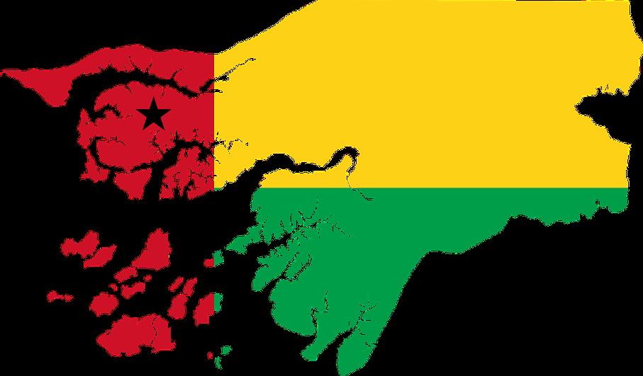 Mapa estilizado com a bandeira de Guiné-Bissau