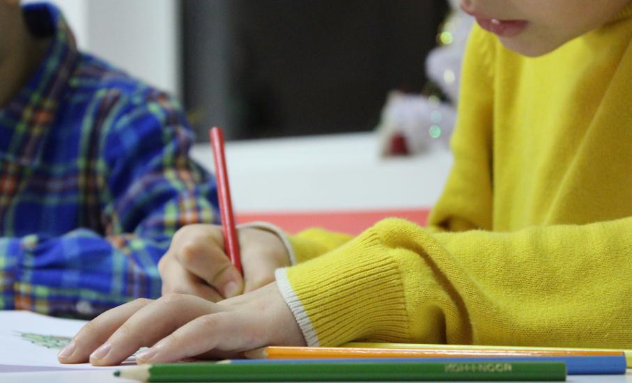 Criança, Folha, Lápis, Escola