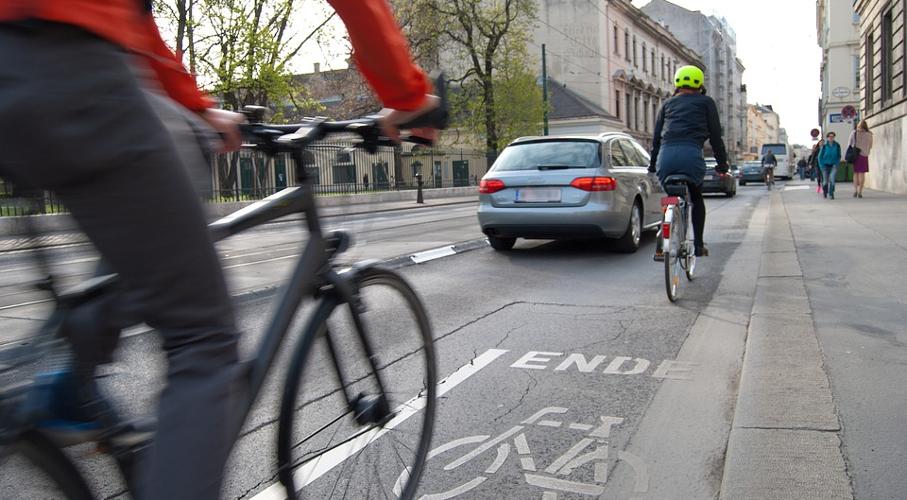 Cidade, Rua, Bicicleta, Carros