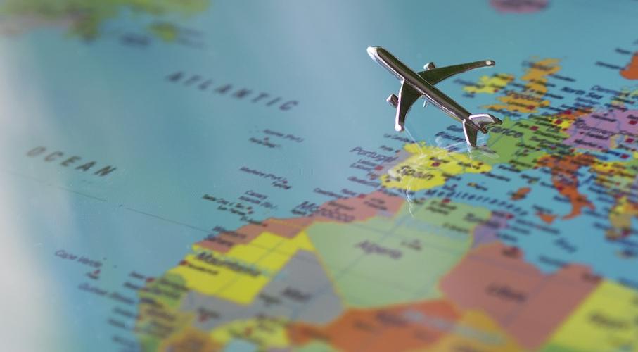 Mapa, Avião, Europa