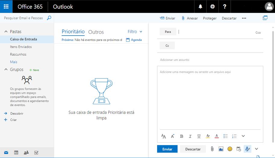Office 365 - Tela de e-mail