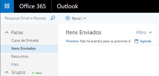 Office 365 - Tela itens enviados