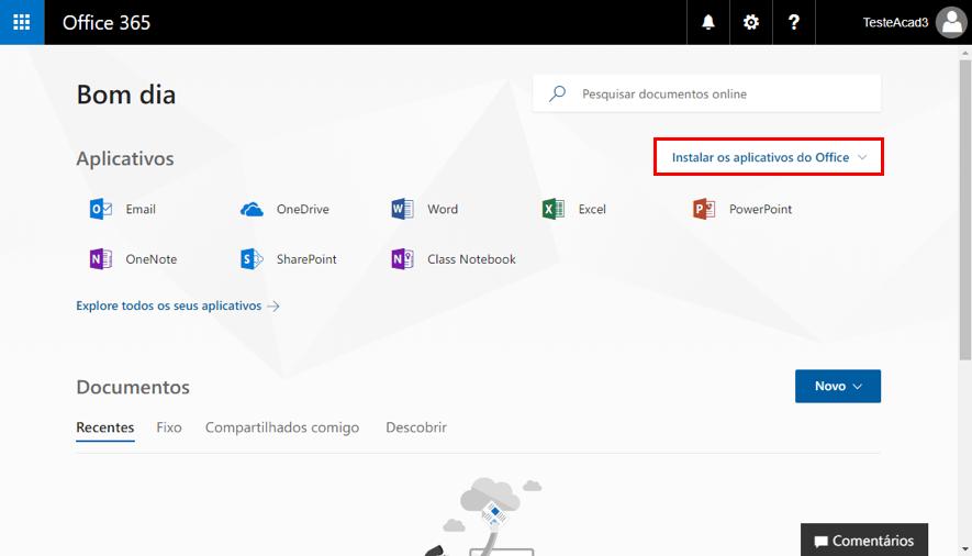 Office 365 - Instalar aplicativos