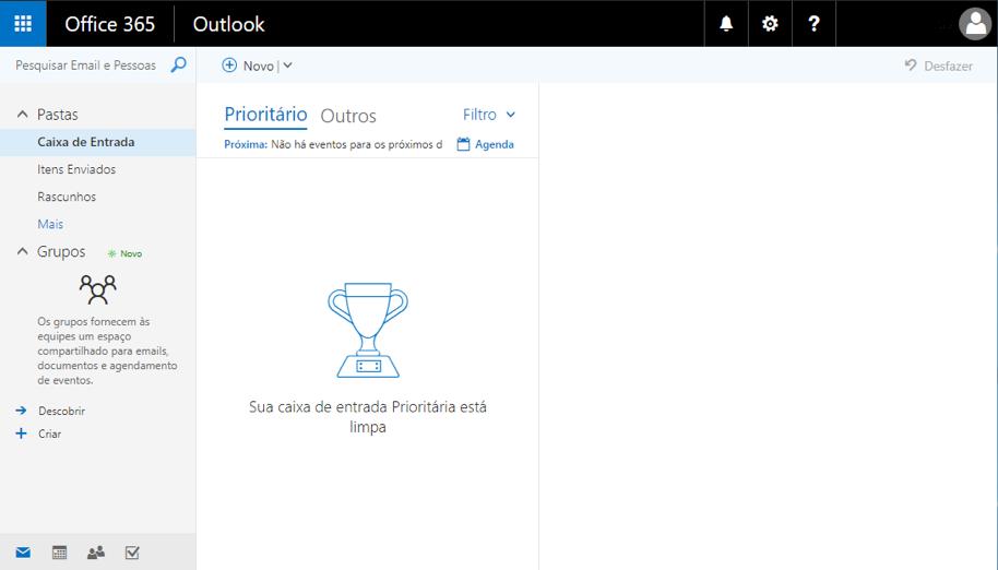 Office 365 - Tela Inicial do e-mail acadêmico