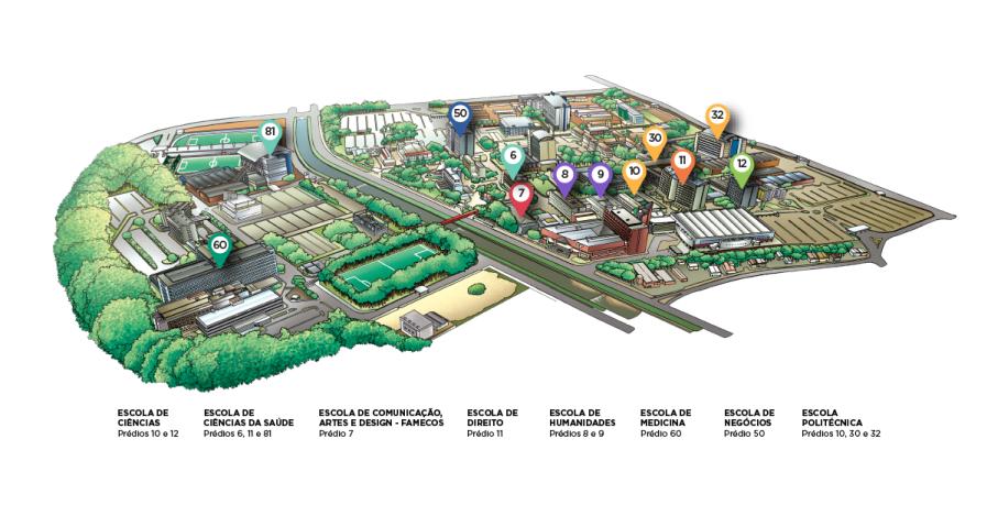 mapa,campus,escolas