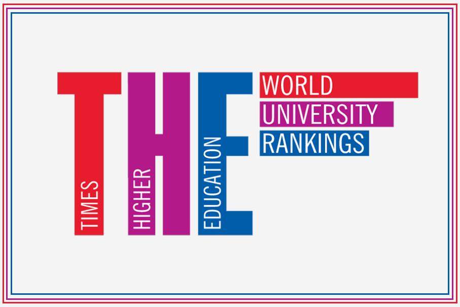 Logo Times Higher Education. Letras T, H e E em caixa alta, nas cores vermelho, rosa e auzl