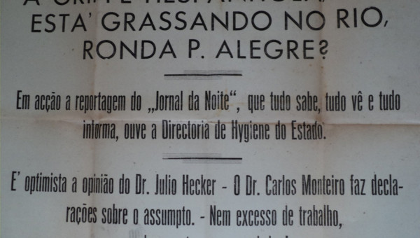 Gripe espanhola pelos registros do acervo Benno Mentz da PUCRS