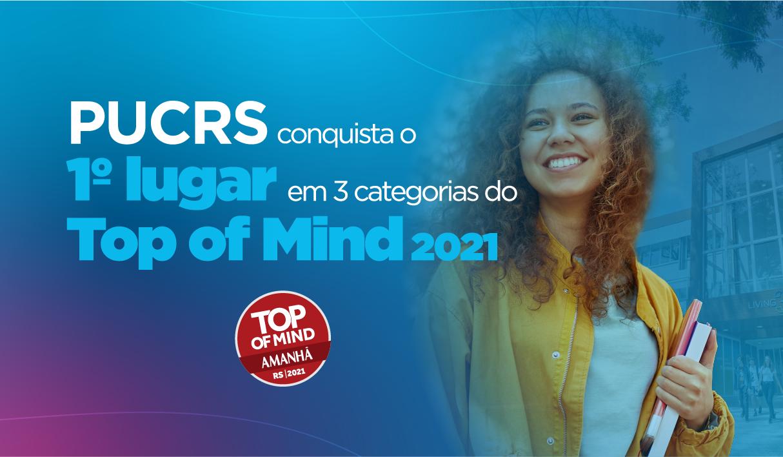 Força da marca PUCRS é reconhecida como 1º lugar em três categorias no Top of Mind