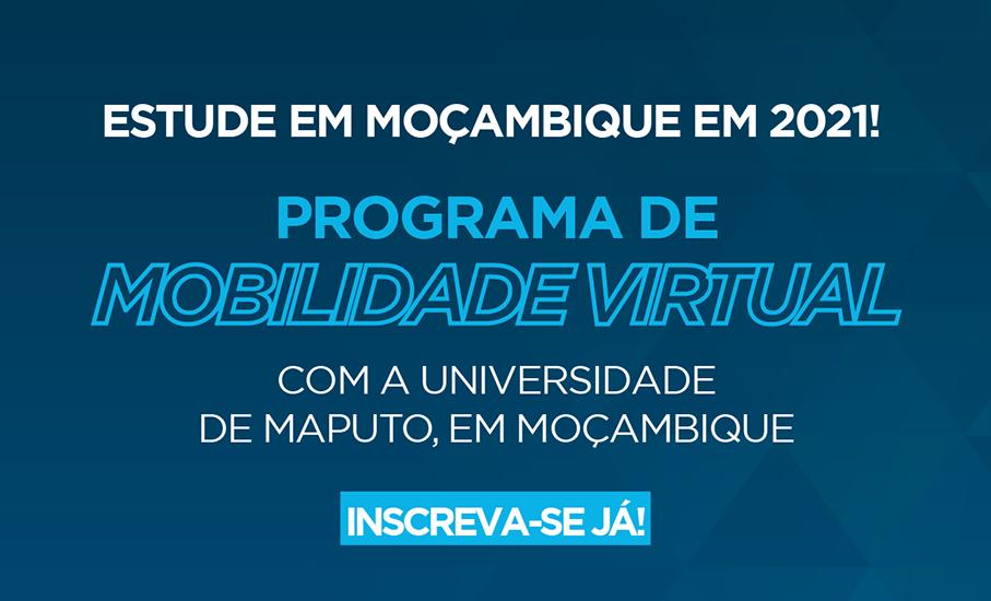 Anúncio para edital de Mobilidade Virtual na Universidade de Maputo, em Moçambique
