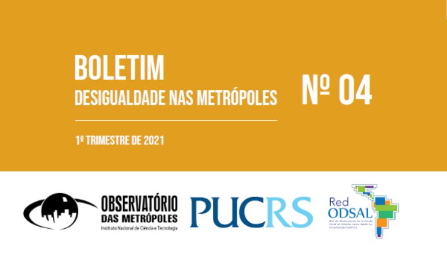 A quarta edição do Boletim Desigualdade nas Metrópoles levantou dados preocupantes sobre os efeitos que a pandemia da Covid-19 provocou, ao longo de um ano, no que diz respeito à renda e sua distribuição entre os moradores e moradoras das metrópoles.