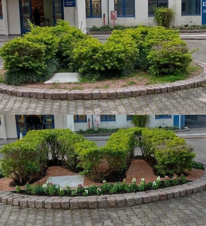 Jardineiro gera engajamento nas redes ao mostrar como é o dia a dia do trabalho - Fotos de antes e depois feitas por Lucas Domingues valorizam o cuidado da equipe de jardinagem com os espaços do Campus