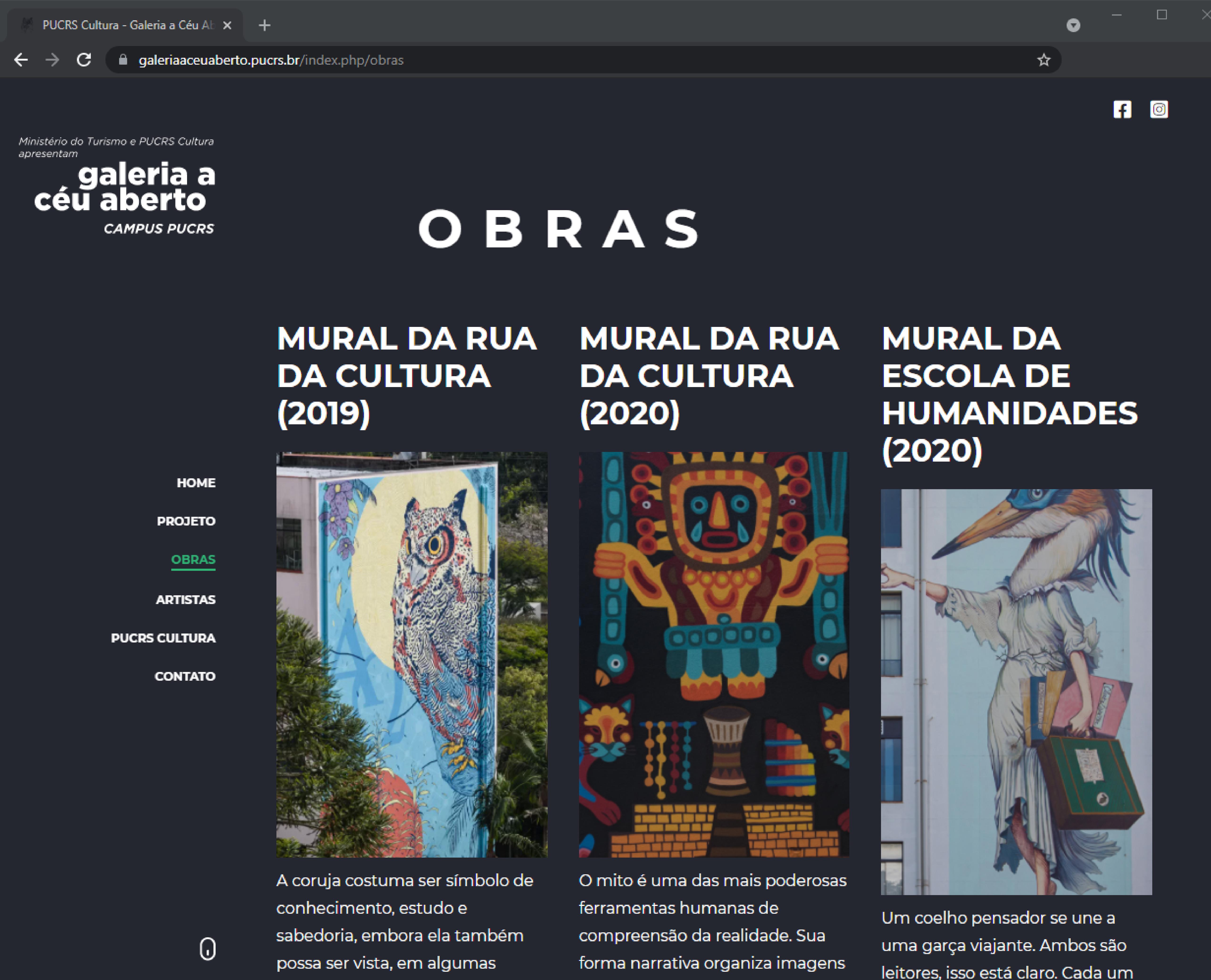 Galeria a Céu aberto: novo site apresenta referências e detalhes das obras - Espaço educativo explora saberes e ideias concebidas por cada artista por trás dos murais